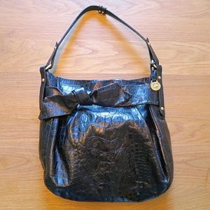 [Brahmin] Black Textured Leather Hobo Bag